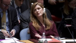 United States Ambassador to the United Nations Samantha Power listens during a meeting of the Security Council at the United Nations in the Manhattan borough of New York