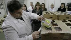 Гипермаркет АШАН в Алтуфьево. Ветеринар проверяет температуру доставленной продукции