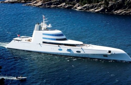BNPS.co.uk (01202 558833) Pic: Petter Wikoren  Roman Abramovich has just been knocked off top spot in the Russian oligarch superyacht stakes. Banker Andrei Melnichenko(34) has spent a small part of his Ј4.6 billion fortune on this brand new ship built by Blohm&Voss in Kiel, Germany. Its first voyage was to Kristiansand in Norway to collect 3 Claude Monet masterpieces for the billionaires collection.